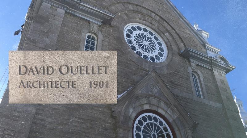 épigraphe à David Ouellet, sur la façade de la chapelle extérieure du Monastère-des-Ursulines-de-Québec